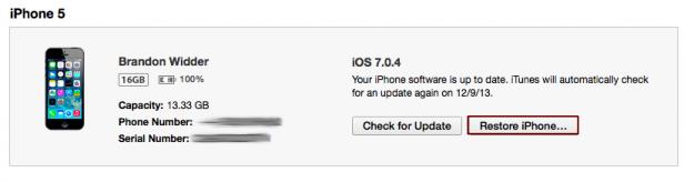 cara reset iPhone lewat iTunes